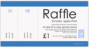 printed blue raffle tickets