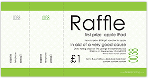 printed green raffle tickets