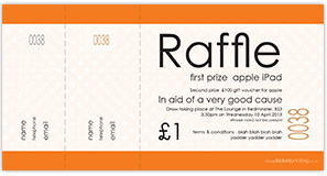 printed orange raffle tickets